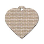 BRICK1 WHITE MARBLE & SAND Dog Tag Heart (Two Sides) Front