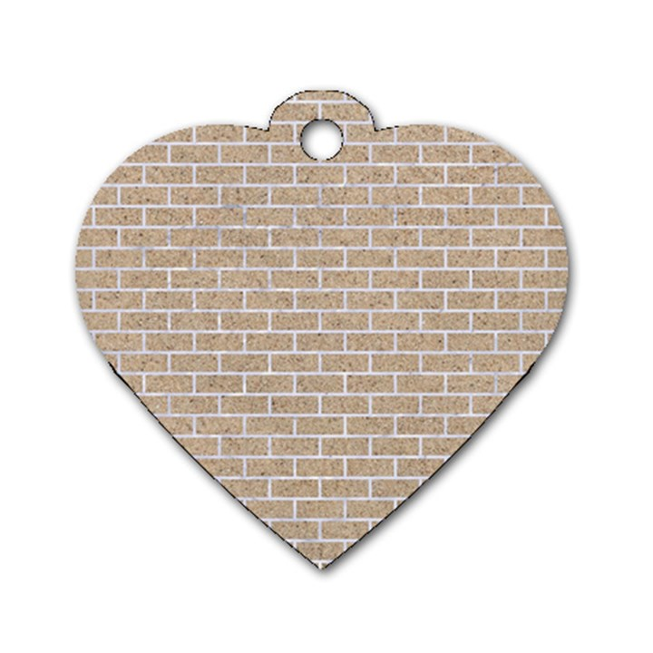 BRICK1 WHITE MARBLE & SAND Dog Tag Heart (Two Sides)