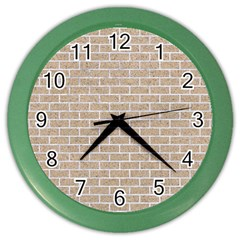 Brick1 White Marble & Sand Color Wall Clocks