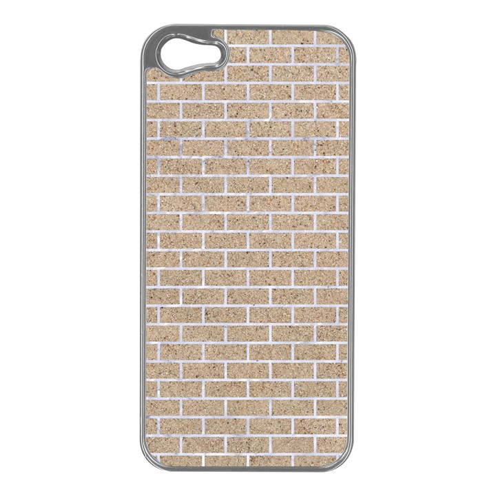 BRICK1 WHITE MARBLE & SAND Apple iPhone 5 Case (Silver)