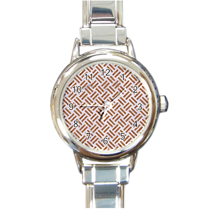 WOVEN2 WHITE MARBLE & RUSTED METAL (R) Round Italian Charm Watch