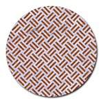 WOVEN2 WHITE MARBLE & RUSTED METAL (R) Round Mousepads Front