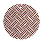 WOVEN2 WHITE MARBLE & RUSTED METAL (R) Ornament (Round) Front