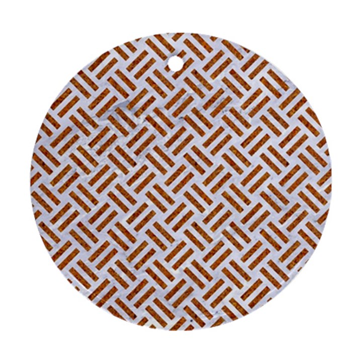 WOVEN2 WHITE MARBLE & RUSTED METAL (R) Ornament (Round)