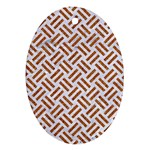 WOVEN2 WHITE MARBLE & RUSTED METAL (R) Ornament (Oval) Front