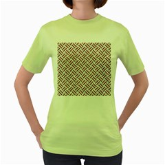 Woven2 White Marble & Rusted Metal (r) Women s Green T Shirt