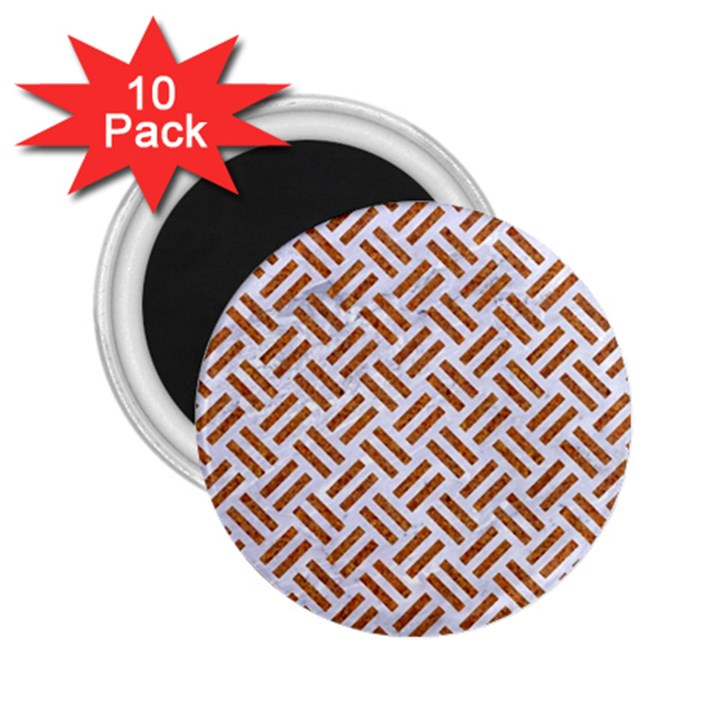 WOVEN2 WHITE MARBLE & RUSTED METAL (R) 2.25  Magnets (10 pack)