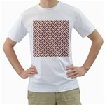 WOVEN2 WHITE MARBLE & RUSTED METAL (R) Men s T-Shirt (White) (Two Sided) Front
