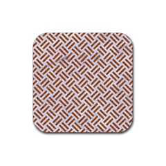 Woven2 White Marble & Rusted Metal (r) Rubber Coaster (square)