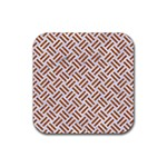 WOVEN2 WHITE MARBLE & RUSTED METAL (R) Rubber Square Coaster (4 pack)  Front