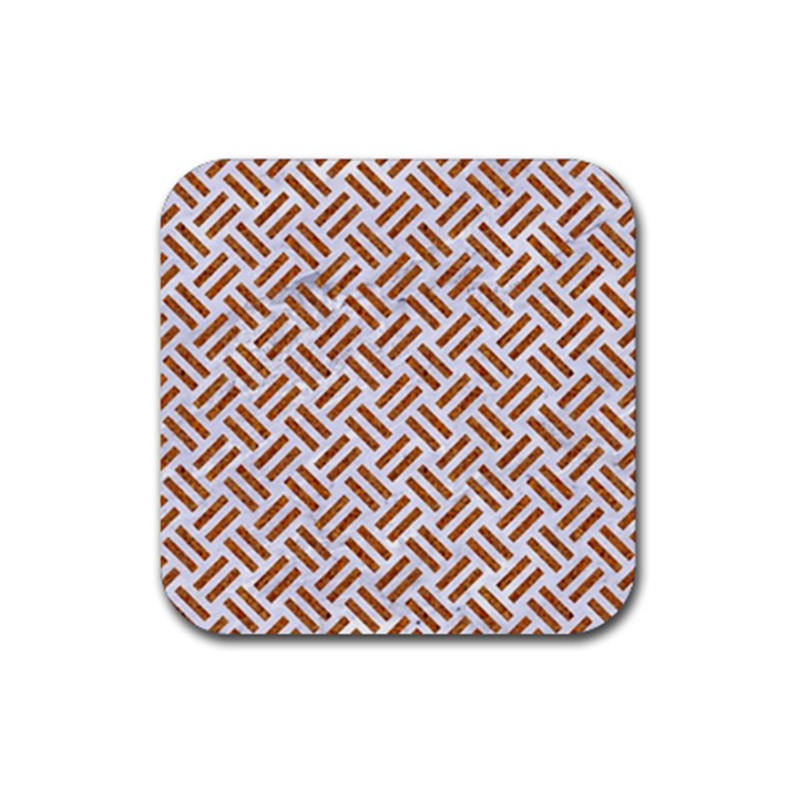 WOVEN2 WHITE MARBLE & RUSTED METAL (R) Rubber Square Coaster (4 pack)