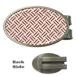 WOVEN2 WHITE MARBLE & RUSTED METAL (R) Money Clips (Oval)  Front
