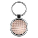 WOVEN2 WHITE MARBLE & RUSTED METAL (R) Key Chains (Round)  Front