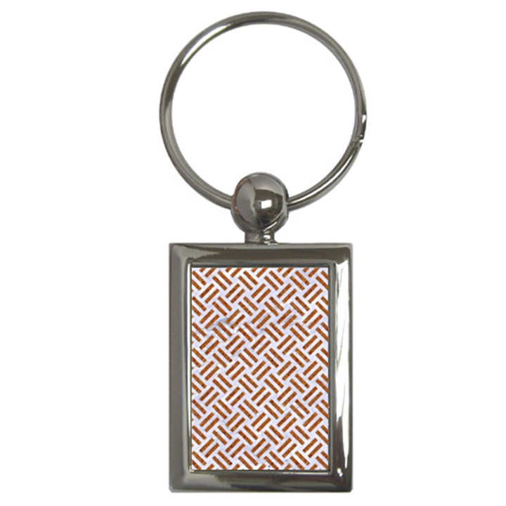 WOVEN2 WHITE MARBLE & RUSTED METAL (R) Key Chains (Rectangle)