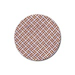WOVEN2 WHITE MARBLE & RUSTED METAL (R) Rubber Round Coaster (4 pack)  Front