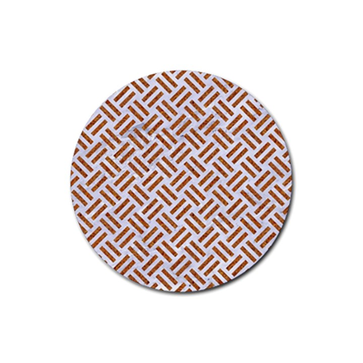 WOVEN2 WHITE MARBLE & RUSTED METAL (R) Rubber Round Coaster (4 pack)