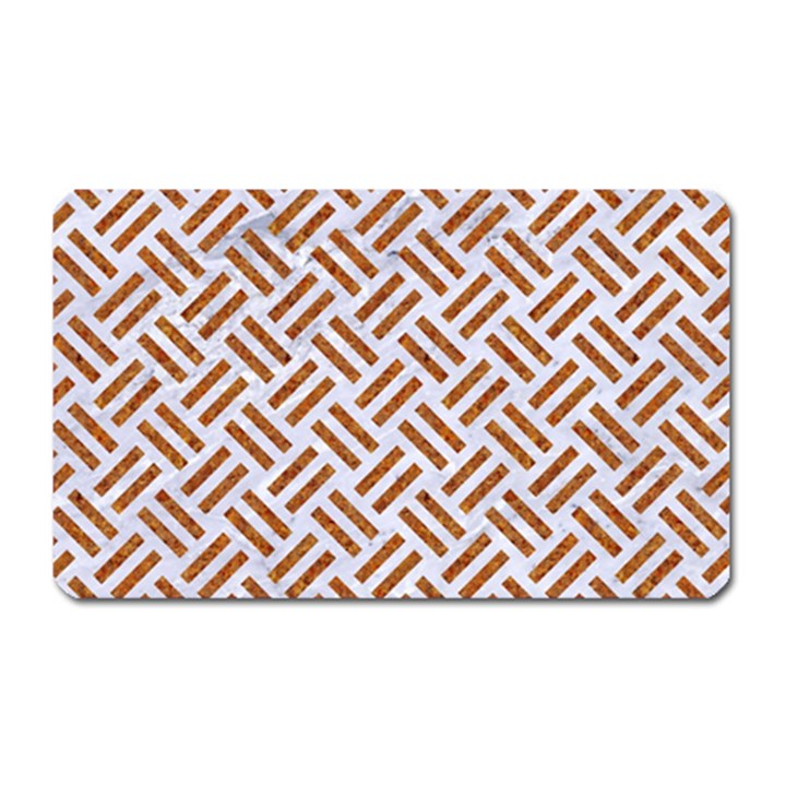 WOVEN2 WHITE MARBLE & RUSTED METAL (R) Magnet (Rectangular)