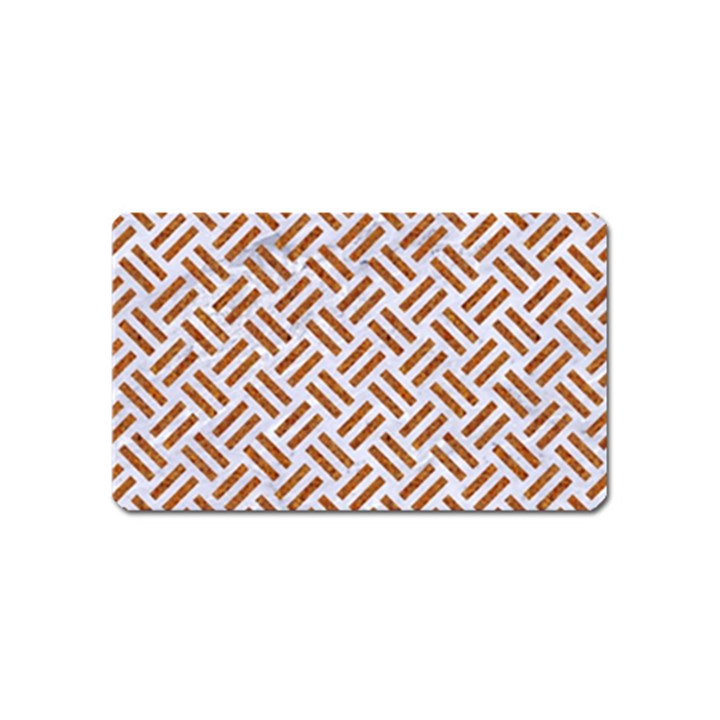 WOVEN2 WHITE MARBLE & RUSTED METAL (R) Magnet (Name Card)