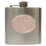 WOVEN2 WHITE MARBLE & RUSTED METAL (R) Hip Flask (6 oz) Front
