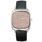 WOVEN2 WHITE MARBLE & RUSTED METAL (R) Square Metal Watch Front