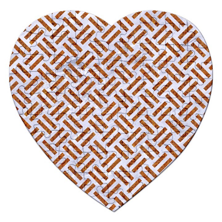WOVEN2 WHITE MARBLE & RUSTED METAL (R) Jigsaw Puzzle (Heart)