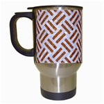 WOVEN2 WHITE MARBLE & RUSTED METAL (R) Travel Mugs (White) Left