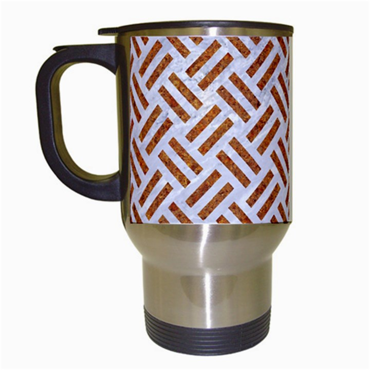 WOVEN2 WHITE MARBLE & RUSTED METAL (R) Travel Mugs (White)