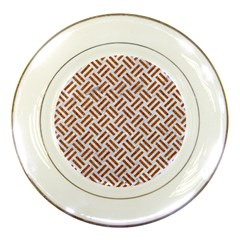 Woven2 White Marble & Rusted Metal (r) Porcelain Plates