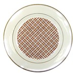 WOVEN2 WHITE MARBLE & RUSTED METAL (R) Porcelain Plates Front