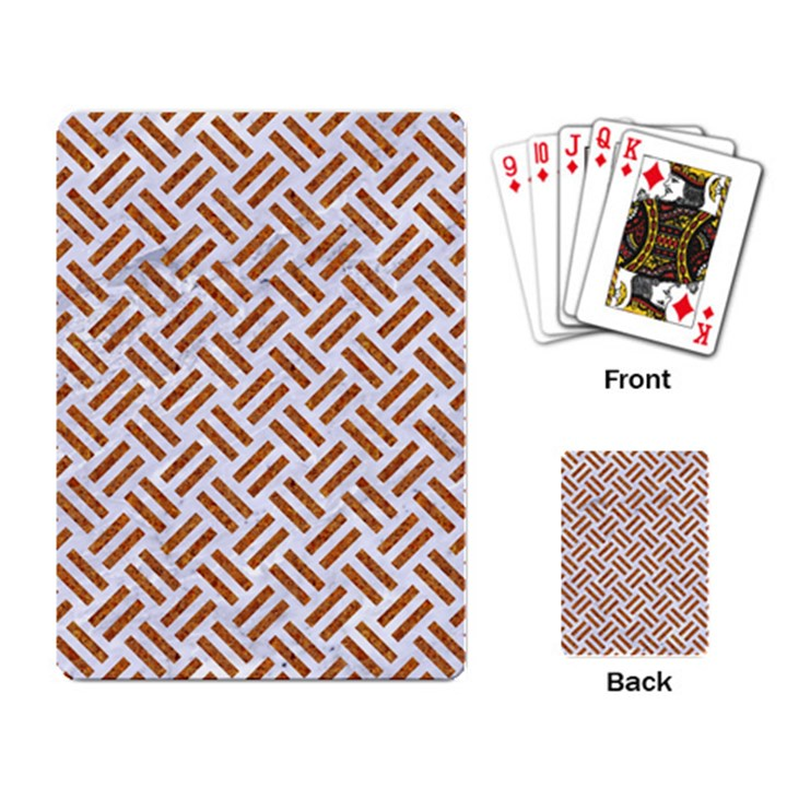 WOVEN2 WHITE MARBLE & RUSTED METAL (R) Playing Card