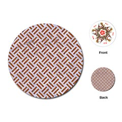 Woven2 White Marble & Rusted Metal (r) Playing Cards (round)