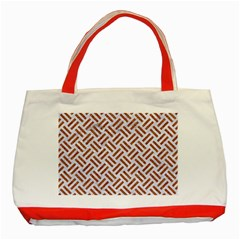 Woven2 White Marble & Rusted Metal (r) Classic Tote Bag (red)