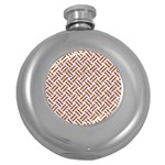 WOVEN2 WHITE MARBLE & RUSTED METAL (R) Round Hip Flask (5 oz) Front