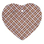 WOVEN2 WHITE MARBLE & RUSTED METAL (R) Heart Ornament (Two Sides) Back