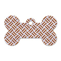 Woven2 White Marble & Rusted Metal (r) Dog Tag Bone (two Sides)