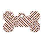 WOVEN2 WHITE MARBLE & RUSTED METAL (R) Dog Tag Bone (Two Sides) Back