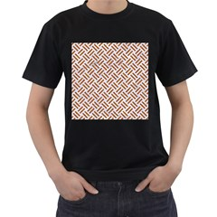 Woven2 White Marble & Rusted Metal (r) Men s T Shirt (black)