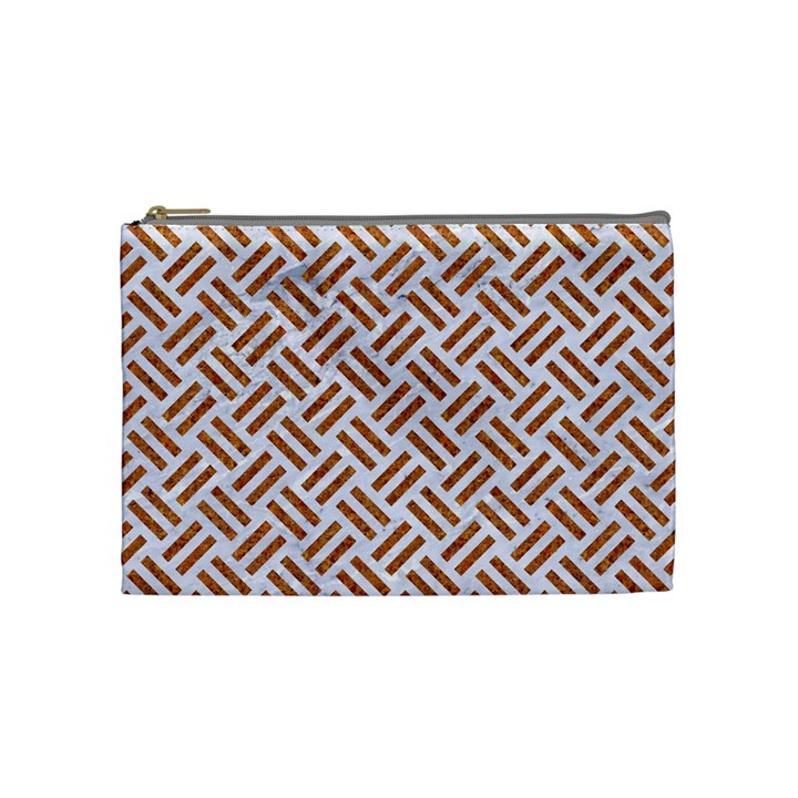 WOVEN2 WHITE MARBLE & RUSTED METAL (R) Cosmetic Bag (Medium)
