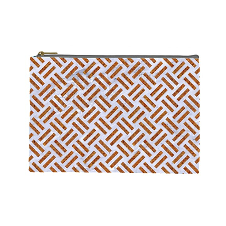 WOVEN2 WHITE MARBLE & RUSTED METAL (R) Cosmetic Bag (Large)