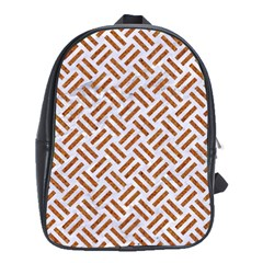 Woven2 White Marble & Rusted Metal (r) School Bag (large)