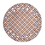 WOVEN2 WHITE MARBLE & RUSTED METAL (R) Ornament (Round Filigree) Front