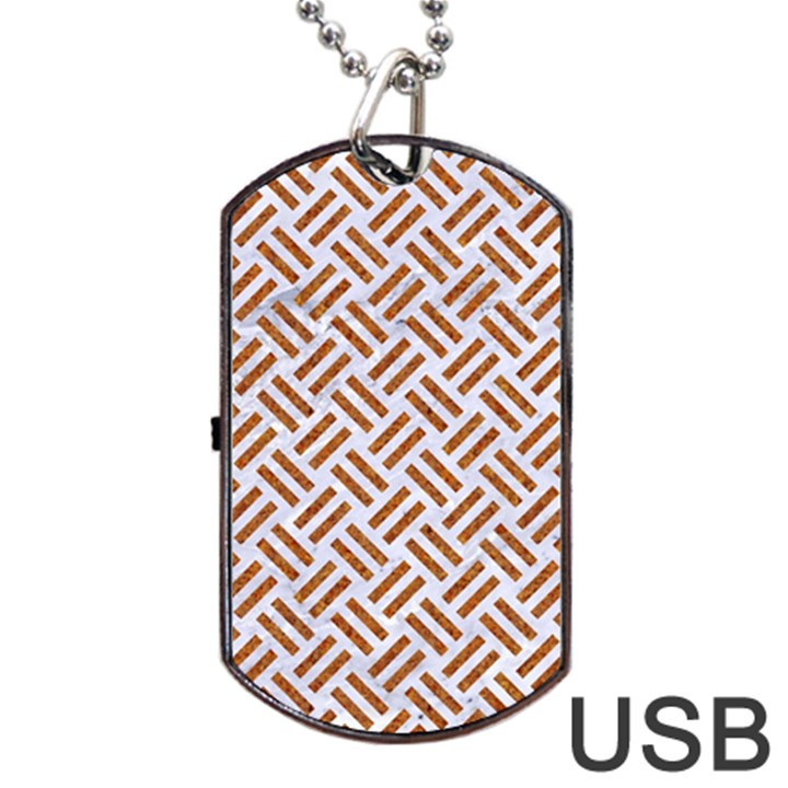 WOVEN2 WHITE MARBLE & RUSTED METAL (R) Dog Tag USB Flash (One Side)