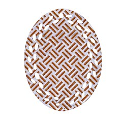 Woven2 White Marble & Rusted Metal (r) Ornament (oval Filigree)