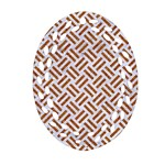 WOVEN2 WHITE MARBLE & RUSTED METAL (R) Ornament (Oval Filigree) Front