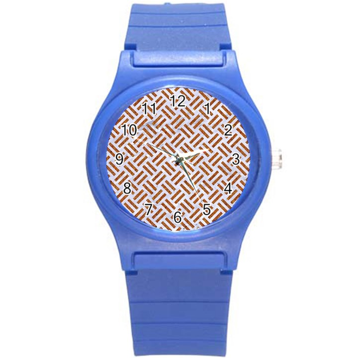 WOVEN2 WHITE MARBLE & RUSTED METAL (R) Round Plastic Sport Watch (S)