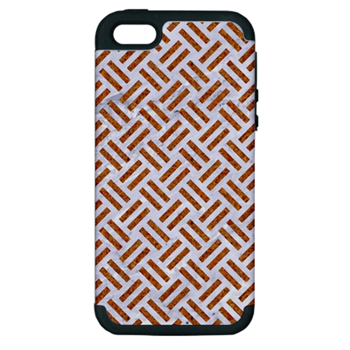 WOVEN2 WHITE MARBLE & RUSTED METAL (R) Apple iPhone 5 Hardshell Case (PC+Silicone)
