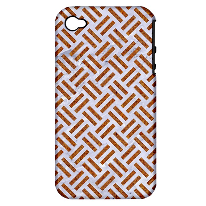 WOVEN2 WHITE MARBLE & RUSTED METAL (R) Apple iPhone 4/4S Hardshell Case (PC+Silicone)