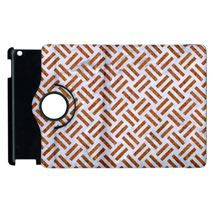 WOVEN2 WHITE MARBLE & RUSTED METAL (R) Apple iPad 3/4 Flip 360 Case