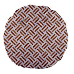 Woven2 White Marble & Rusted Metal (r) Large 18  Premium Round Cushions