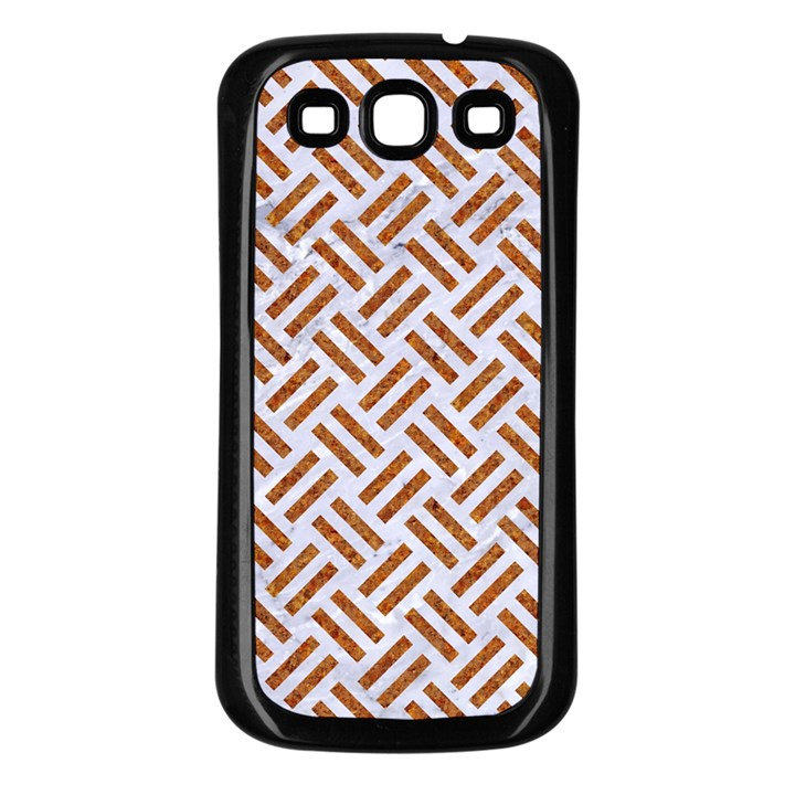 WOVEN2 WHITE MARBLE & RUSTED METAL (R) Samsung Galaxy S3 Back Case (Black)